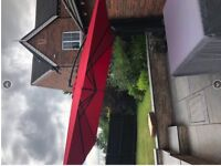 Hardelot: Square cantilever parasol 3x3m, red