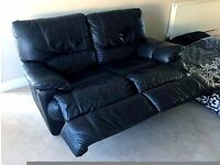 Black Leather Two Seaters Recliners Sofa's x2 **£100 Both** - LOCAL FREE DELIVERY