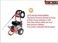 Proplus 7hp Petrol Pressure Washer & Pump180 Bar Litfs directly from a water barrel