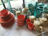 Nisbets Crokery- Lot of Colorful stoneware Tableware- Plates, Bowls, mugs, cups, Tea Pot