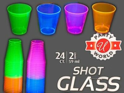 Packs of 24 Count 2oz Neon Assorted Blacklight Reactive Plastic Shot Glasses
