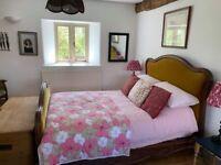 Green velvet french vintage double bed