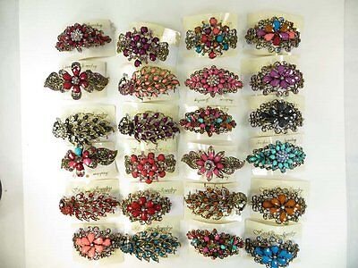 US Seller-lot of 10 pcs wholesale hair barrette with rhinestone crystals