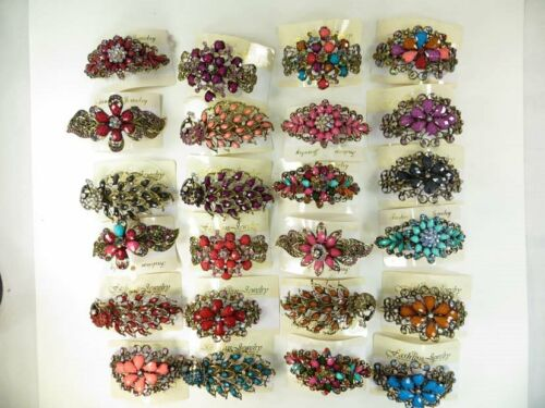 Us Seller-lot Of 10 Pcs Wholesale Hair Barrette With Rhin...