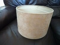 2 x Lampshades with Floral Design in Faux Suede Style Material - Beige
