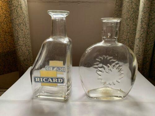 2 vintage RICARD Carafe Jug Bottle Advertising