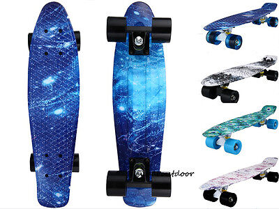"Penny Style 22"" Cruiser Skateboard Graphic Galaxy Retro Plastic Skateboard"
