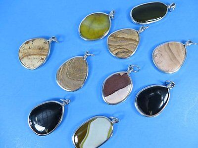 US SELLER-wholesale lot of 12 semi-precious gemstone agate stone pendant