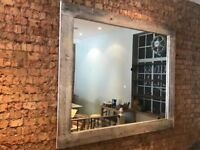 Large Rustic Wooden Mirror