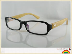 Bamboo-Wooden-Arms-Vintage-Retro-Nerd-Geek-Black-Clear-Lens-Glasses-70s-80s