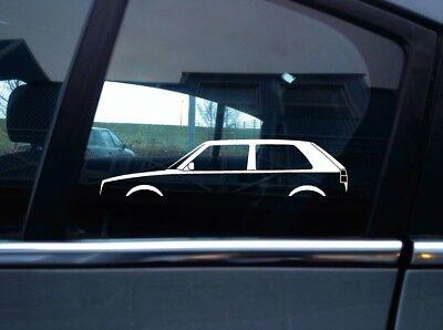 2x car silhouette stickers - for VW Golf Mk2 GTi / G60 3-DOOR Classic Volkswagen