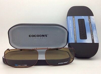 COCOONS Amber Polarized Sunglasses/Eyeglasses Over Rx Clip-on REC 15-58 Bronze