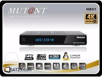 Mutant HD51 4K satellite Receiver with gift setup plug and play