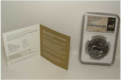2017 S.Africa 50th Anniversary 1 Oz. Silver Krugerrand NGC SP-70 First Release