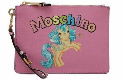 $295 SS18 Moschino Couture Jeremy Scott My Little Pony Pink Clutch Rainbow (Jeremy Scott Rainbow)