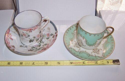 antique Hand Painted Japanese Eggshell Porcelain demitasse cup saucer 2 set fine