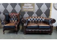 NEW Chesterfield Harlequin 2 Seater and Queen Anne Wing Back Chair in Leather - UK Delivery