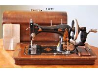 J.G. Graves Vibra Antique Sewing Machine with Original Case and Manual