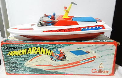 GULLIVER SPIDER-MAN & CAPTAIN AMERICA MOTORIZED BOAT 1978 MIB High Grade RARE