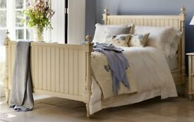 AND SO TO BED LOUIS PANELLED HAND PAINTED WOODEN BED IN CREAM FINISH, SUPER KING SIZE