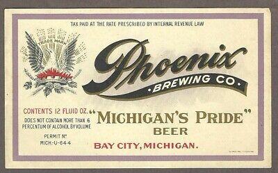 6% Phoenix Beer Label, U-permit, IRTP, Phoenix Brewing Co., Bay City, MI