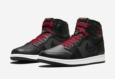 New Nike Air Jordan 1 Retro High OG Black Satin Red 555088 060 MENS