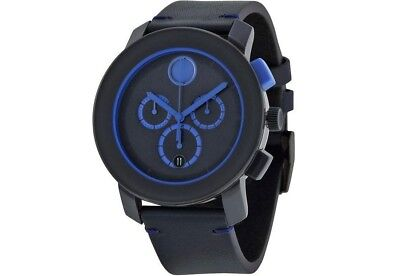 NEW MENS MOVADO BOLD (3600349) BOLD BLUE LEATHER CHRONOGRAPH SWISS DIAL WATCH