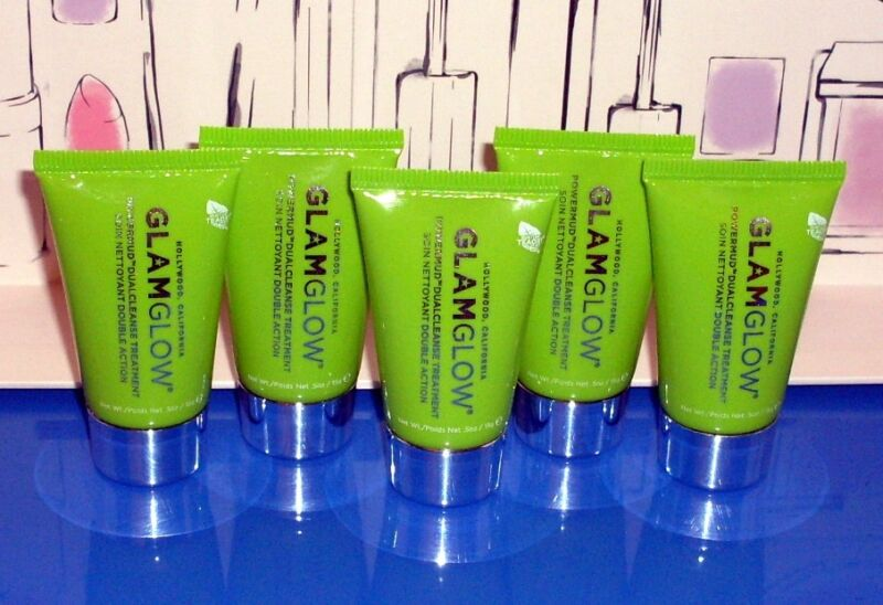 LOT 5 x .5 oz GLAM GLOW GLAMGLOW POWERMUD DUAL CLEANSE TREATMENT = 2.5oz TOTAL