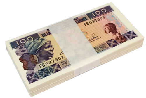 GUINEA 100 FRANCS 1998 P 35 UNC BUNDLE of (20 NOTES) 20 PCS