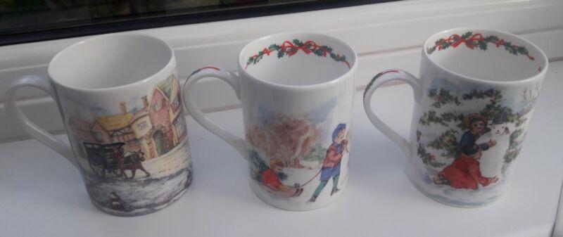 Rington+Tea+Fine+Bone+China+Cups+x3+Christmas+themed+collectors+items