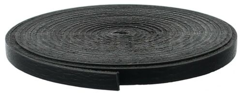 """1/4"""" Black Leather Flat Cord - 6mm Genuine Cowhide Leather Strap 25 50 Ft"""