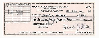 Willie McCovey Signed 1981 Autograph MLBPA Check HOF Rare Auto Giants