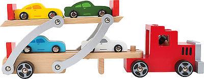 Autotransporter aus Holz mit Kippfunktion und vier Autos NEU OVP