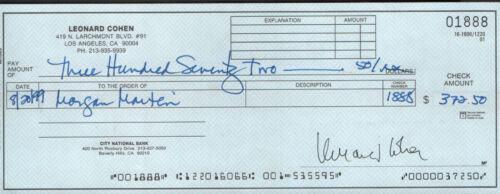 Leonard Cohen REAL hand SIGNED full size personal check #2 RARE w/ COA