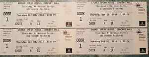 4 Concert Tickets, Sydney Symphony Beethoven 6th, 20th Oct. 16 Terrey Hills Warringah Area Preview
