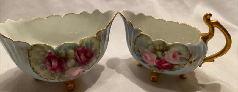 Handpainted Floral Gilt Powder Blue Porcelain Creamer and sugar Vienna Austria