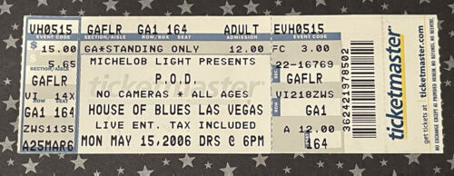 P.O.D. House Of Blues Las Vegas Full Concert Ticket May 21 2006 Scanned Used - $24.98