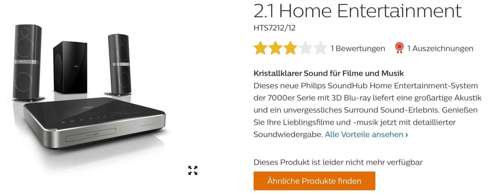 Philips Sound System -Heimkino- HTS 7202. Bluray 3 D