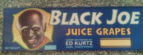 Black Joe CRATE LABEL VINTAGE GRAPE BLACK AMERICANA 1940S OR