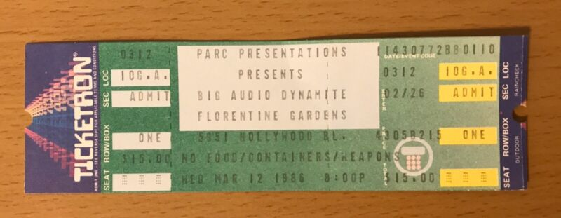 1986 BIG AUDIO DYNAMITE FLORENTINE GARDENS HOLLYWOOD CONCERT TICKET STUB CLASH