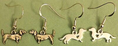 DACHSHUND EARRINGS - Pewter with SS/GP Ear Wires - Choose - WIENER DOG