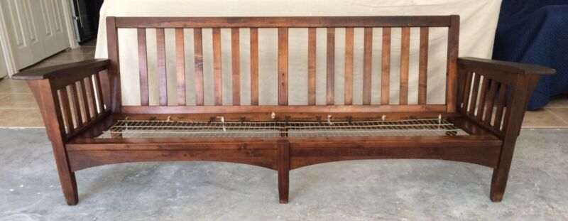 """Vtg Mission Arts & Crafts Morris Stickley Style Spindle Settle Sofa Couch 84"""" L"""