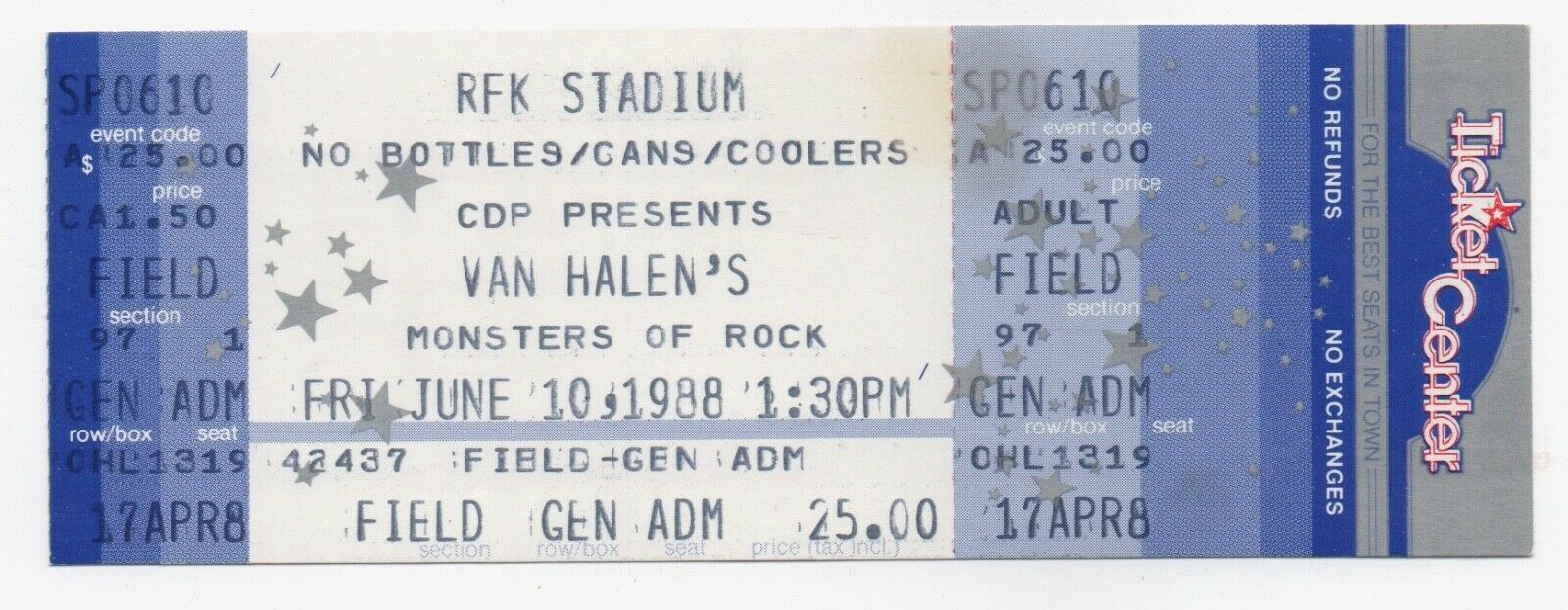UNUSED Van Halen Monsters Of Rock Concert Ticket Stub June 10 1988 RFK Stadium  - $19.99