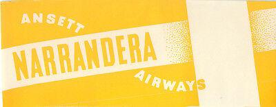 AUSTRALIA  ANSETT AIRWAYS TO NARRANDERA VINTAGE AVIATION BAGGAGE LUGGAGE LABEL