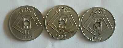 3 monnaies munten Belgique Belgie LEOPOLD III 5 cent 1938, 1939 et 1940