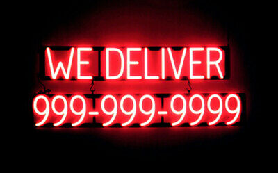 Spellbrite Ultra-bright We Deliver 10 Digit Phone Signneon Lookled Performance