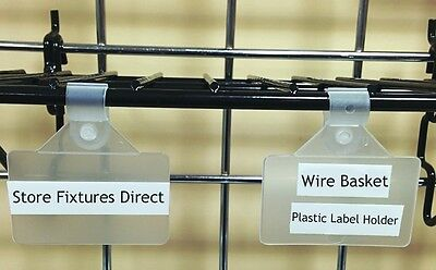 Wire Basket Plastic Label Holder Clip On 2 X 1.25 - Pack Of 50
