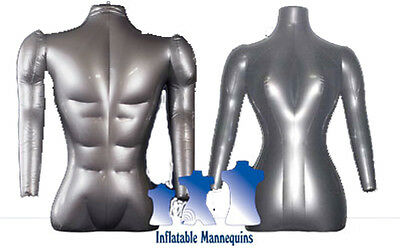 His Her Special - Inflatable Mannequin - Torso Forms With Arms Silver