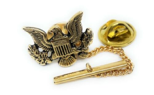 U.S.EAGLE INSIGNIA TIE TACK / LAPEL PIN 18KT GOLD PLATED