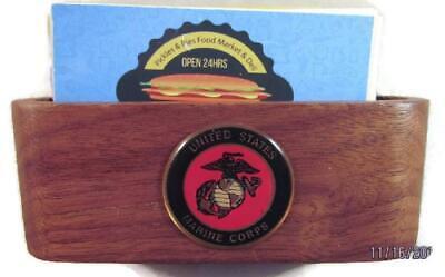 Usmc Us Marine Corps Logo Desk Brown Walnut Card Holder New